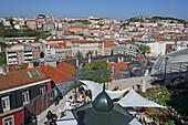 View from Miradouro de Sao Pedro de Alcantara of the old town Alfama and the casle Sao Jorge, Lisbon