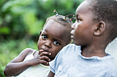 Two litte native children, Sao Tome, Sao Tome and Principe, Africa