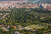 aerial, Herrenhausen Gardens, palace,  avenue,  allotments, city, Hannover, Lower Saxony, Germany