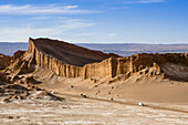 Atacama amphitheatre in Moon Valley. The Salt Mountain Chain was formed by the horizontal accumulation of thin layers of materials (sand, clay and salt), wich were subsequently destroyed by movements in earth´s crust. The actions of wind and water upon th