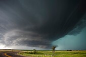 Supercell storm that produced the world record hail stone in Vivian SD, July 23, 2010, now reorganizing east of Vivian. The stone measured 8 inches in diameter!.