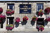 Flowers at The Harbour Inn, Porthleven, Cornwall, UK.