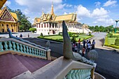 View from Phochani Pavilion. An open hall originally constructed as a classical dance theater. The Pavilion is currently used for Royal receptions and meetings. Built in 1912. The Royal Palace complex, Daun Penh District, Phnom Penh, Cambodia, Southeast A