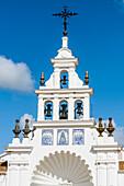 The cathedral in the pilgrimage place  El Rocío directly in the national park Coto de Donana, El Rocio, Almonte, Huelva, Spain