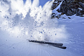 Snow raising, back-country skiing downhill, Hasenoehrl, valley of Ultental, Ortler Range, South Tyrol, Italy