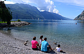 At Sabbioni beach, Riva, Northern lake Garda, Trentino, Italy
