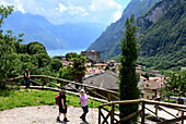 Hiking near Tenno over Riva, Northern lake Garda, Trentino, Italy