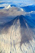 Russia, Kamchatka Peninsula, volcano, aerial view,.