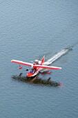 Searey, a small seaplane landing on the Chesapeake Bay, in Maryland, USA.