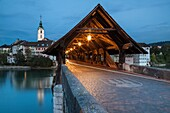 Covered bridge over Aare river in Olten at dawn, canton of Solothurn, Switzerland.