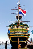 Maritime Museum and Dutch East India Company (VOC) ship, replica of the cargo ship from 1740, Amsterdam, Netherlands, Europe.