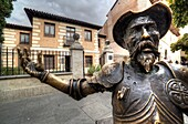El quijote statue in front of Cervantes birth house-museum. alcala de henares. Spain. It is a monographic museum placed in Calle Mayor, and housed in the building where the writer was born. It brings to life the various areas of an affluent household duri