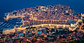 'Dubrovnik seen from above. Dubrovnik is a Croatian city on the Adriatic Sea, in the region of Dalmatia. It is one of the most prominent tourist destinations in the Mediterranean, a seaport and the center of Dubrovnik-Neretva County. In 1979, the city of