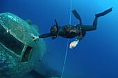 Freediver and wreckplan Douglas Dakota, Mediterranean Sea, Kash, Turkey.