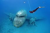 Freediver and wreckplan Douglas Dakota, Mediterranean Sea, Kash, Turkey