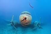 Freediver and wreckplan Douglas DC-3 Dakota, Mediterranean Sea, Kash, Turkey.
