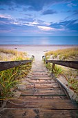 A staircase leading down grass covered dunes to a beach along the shore of Lake Huron. Pinery Provincial Park, Ontario, Canada.