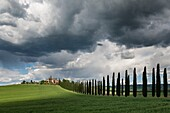 Landscape photo of a Tuscan villa in patchy sunlight. Val D´Orcia, Tuscany, Italy.