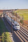 A TGV speeds through the Burgundy countryside of France.