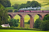 LMS Jubilee Class 45699 Galatea ´Fellsman´, steam train on the Settle to Carlisle Railway Line on Dry Beck Viaduct near Armathwaite Settle to Carlisle Railway Line, Eden Valley, Cumbria, England, UK.