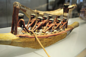 Egyptian civilization, Middle Kingdom. Painted and stuccoed wood model of boat, Louvre Museum, Paris, France