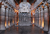Cave 26: Stupa with Buddha seated on a lion throne with his feet resting on the lotus. Ajanta Caves, Aurangabad, Maharashtra, India.