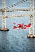 Searey a small seaplane flying near Chesapeake Bay Bridge, Maryland, USA.