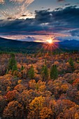 Stormy sunset over Fall colors on trees in mixed forest, Shasta National Forest, near Burney, California.