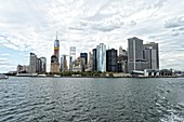 Lower Manhattan Financial District Skyline on a Cloudy Day. New York City.