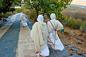 India, Gujarat, Palitana, Shatrunjaya temple, jain pilgrims.