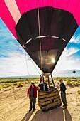 Hot air balloons after landing from a flight during the Albuquerque International Balloon Fiesta, Albuquerque, New Mexico USA