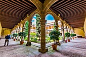 Cloister of the Monastery of Yuste, founded by the Hieronymite Order of monks in 1402, in the small village called Cuacos de Yuste, Cáceres, Extremadura, Spain, Europe.