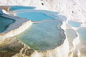 'Hot springs and travertines, terraces of carbonate minerals left by the flowing water; Pamukkale, Turkey'