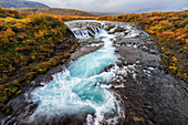 'Waterfall and flowing water in a river; Bruarfoss, Iceland'