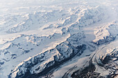 Aerial view of snow covered mountains and glaciers in the Coastal Range, Southeast Alaska, USA, Summer