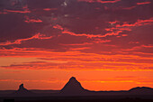 'Glass House Mountains with a dramatic sunrise; Queensland, Australia'