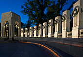 'World War II Memorial at twilight; Washington, District of Columbia, United States of America'