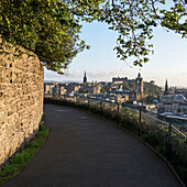'Walkway with stone wall and railing, Calton Hill; Edinburgh, Scotland'