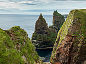'Rugged peaked sea stacks along the coast of Duncansby Head; Scotland'