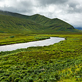 'Mountains and fields covered in green foliage with a river running through it under a cloudy sky in the Highlands; Scotland'