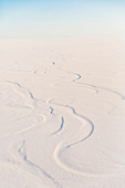 Aerial view of snow drifted into patterns by the wind, North Slope, Arctic Alaska, USA, Winter