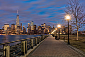 'Manhattan skyline at twilight, Liberty State Park; Jersey City, New Jersey, United States of America'