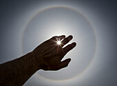 'The sun piercing through a silhouetted hand; Winnipeg, Manitoba, Canada'