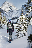 'Female snowshoer on snow trail with snow covered trees and snow covered mountains in the background with blue sky; Kananaskis Country, Alberta, Canada'