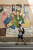 'Political paintings known as murales; Orgosolo, Sardinia, Italy'
