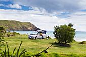 'A beachfront campsite on the northernmost tip of the Coromandel Peninsula; Port Jackson, Waikato, New Zealand'
