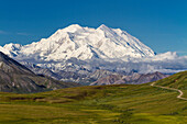 View of Mt. McKinley on a sunny day from Stony Overlook, Denali National Park and Preserve, Interior Alaska, Summer.
