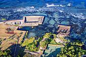 'Historic Hawaiian temples (heiau) in Keauhou, Hawaii, with Ke'eku on left, Hapaiali'i on right; Keauhou, Island of Hawaii, Hawaii, United States of America'