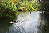 'Local children float down Punaluu Stream; Punaluu, Oahu, Hawaii, United States of America'