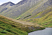 Mountain bikers on the Devils Pass Trail in the Chugach National Forest, Kenai Peninsula, Southcentral Alaska
